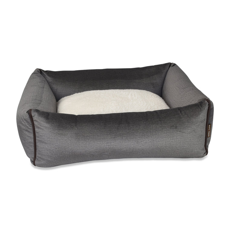 Bolster Dog Bed  - Graphite Grey Velvet