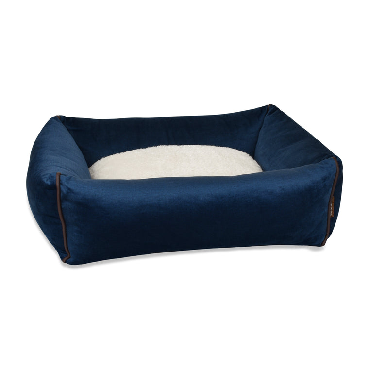 Bolster Dog Bed  - Midnight Blue Velvet