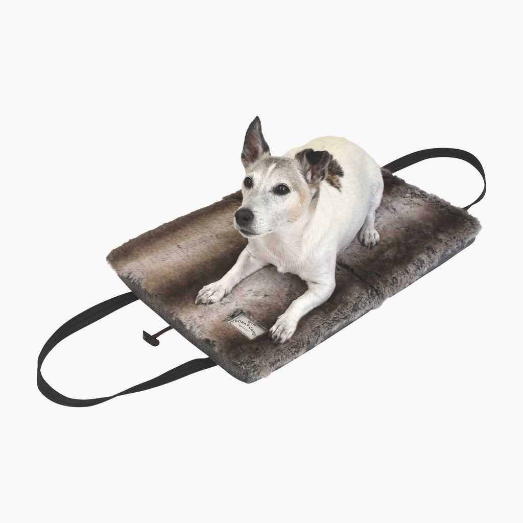 Travel Dog Bed - Limited Edition - Taupe Velvet with Luxury Faux Fur Lining