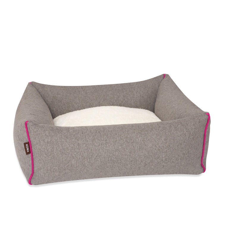 KONA CAVE® luxury bolster dog bed in soft grey flannel fabric with hot pink trim