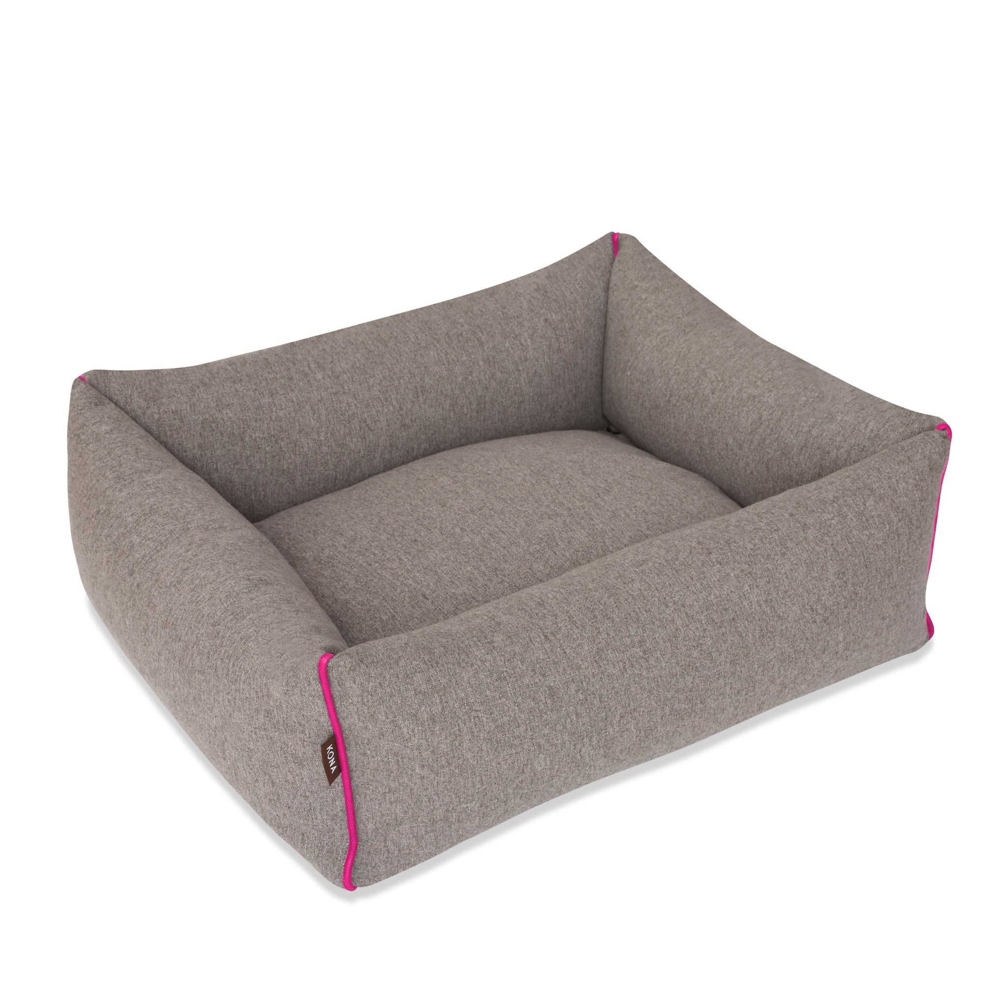 KONA CAVE Luxury Dog Beds Washable Grey Flannel with Hot Pink Trim