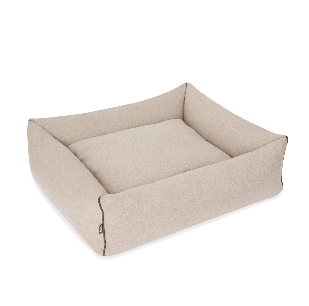 KONA CAVE® designer Snuggle Cave dog bed in beige flannel fabric with removable cave cover.