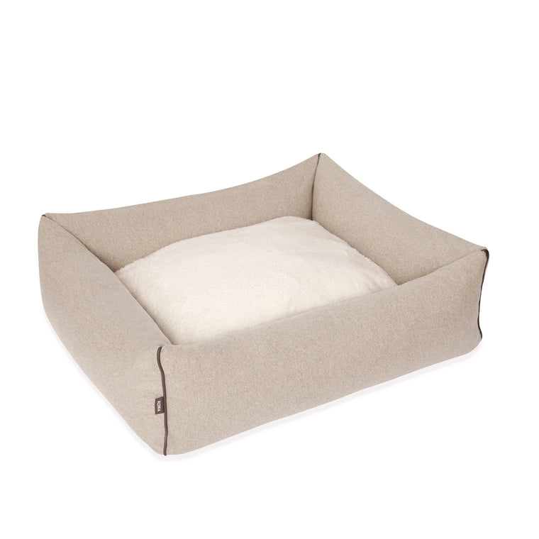 KONA CAVE® luxury dog bed in beige flannel, with leather trim