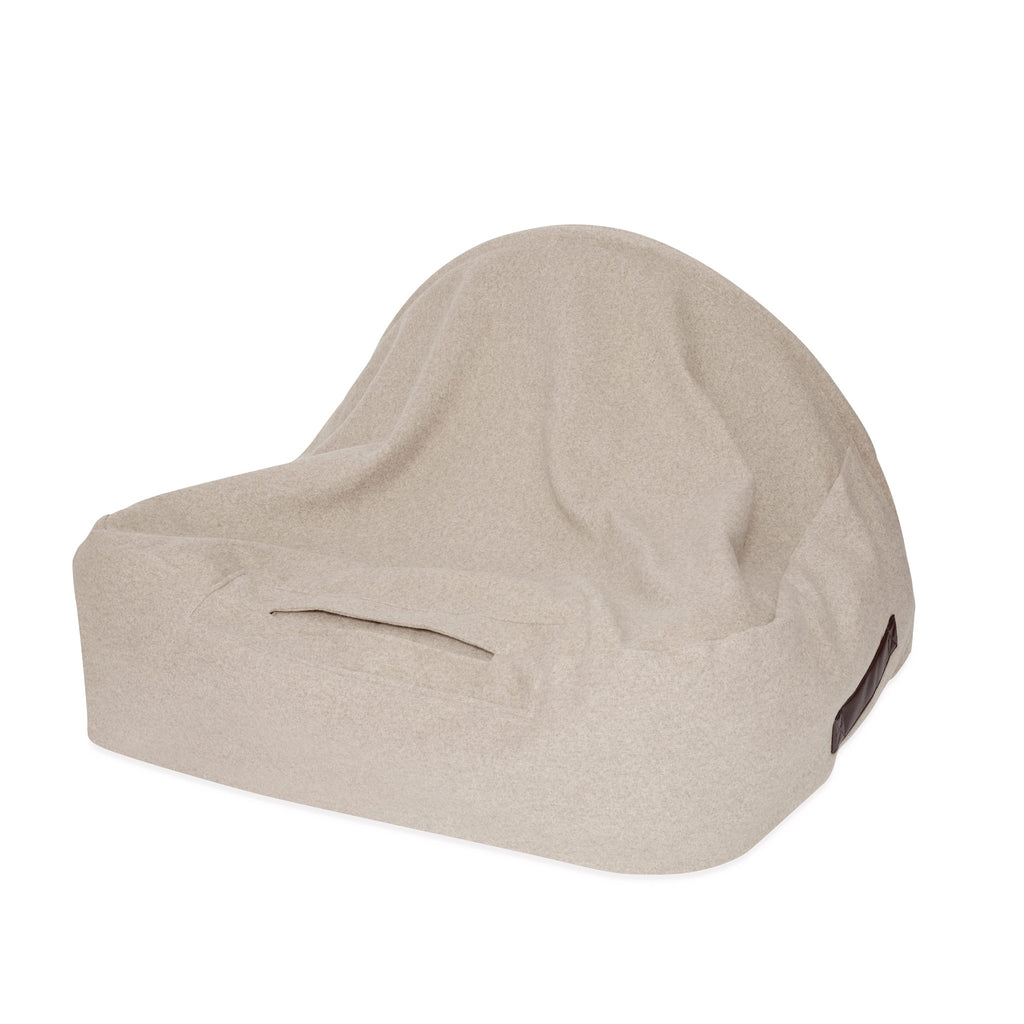 KONA CAVE® designer Snuggle Cave dog bed in beige flannel fabric and leather trim.  Hund Höhlenbett