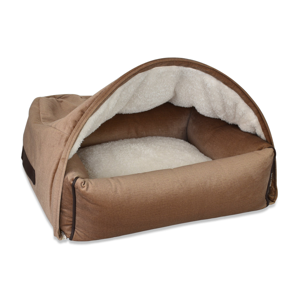 Snuggle Cave Dog Bed - Beige Velvet