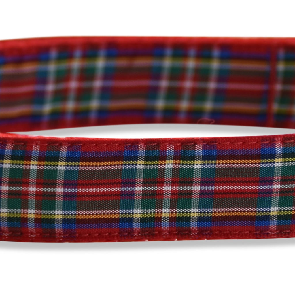 KONA CAVE ® - adjustable dog collar in authentic Royal Stewart tartan (red)