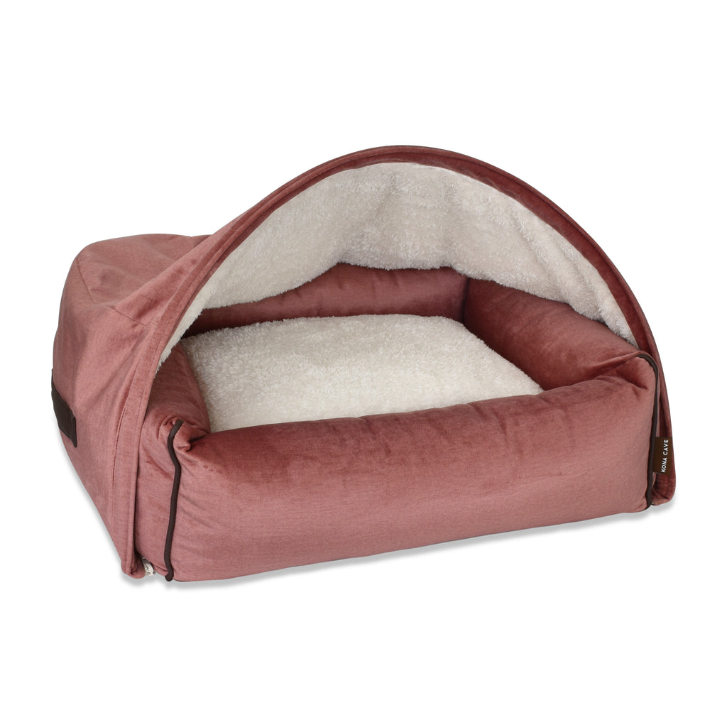 Snuggle Cave Dog Bed - Pale Pink Velvet