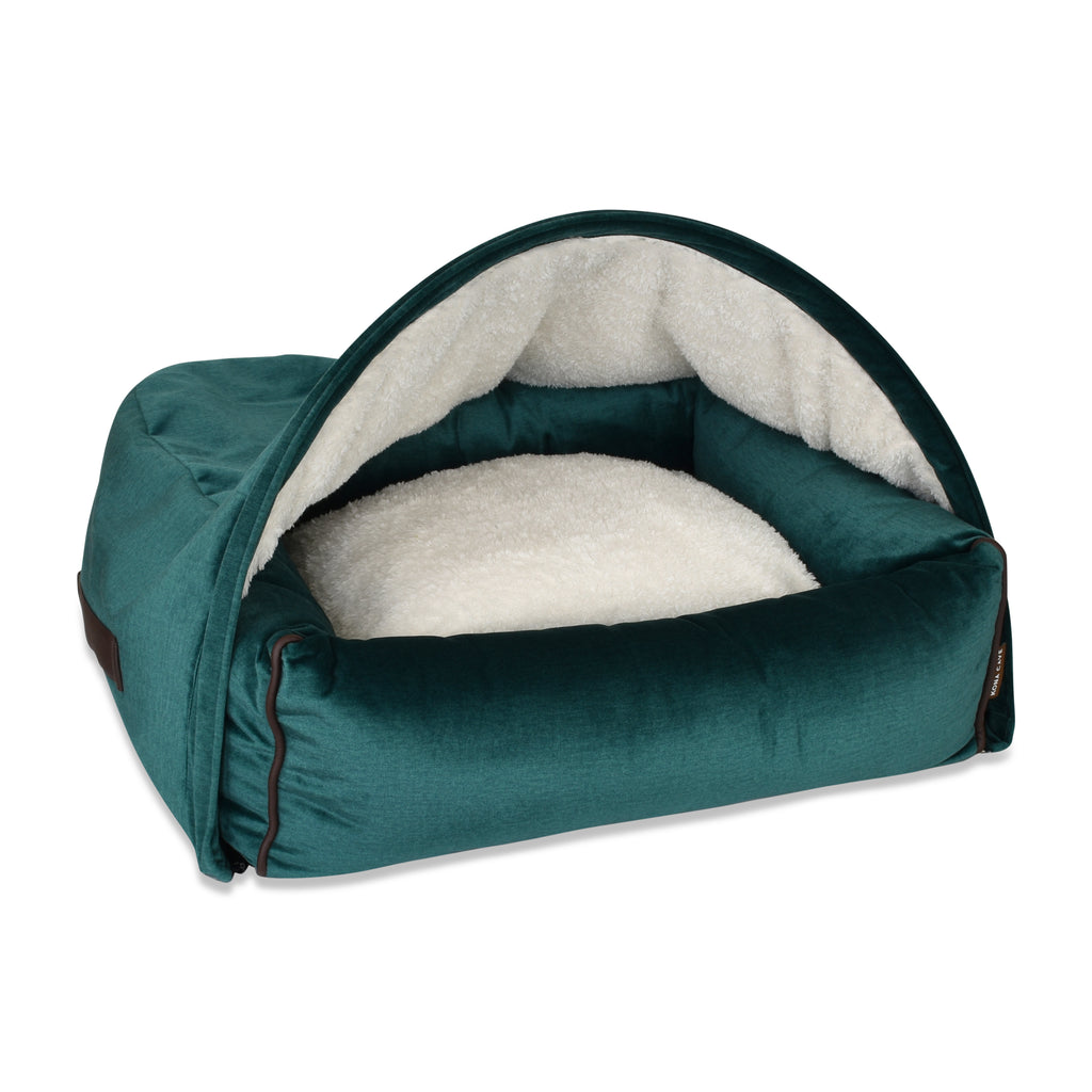 Snuggle Cave Dog Bed - Emerald Green Velvet