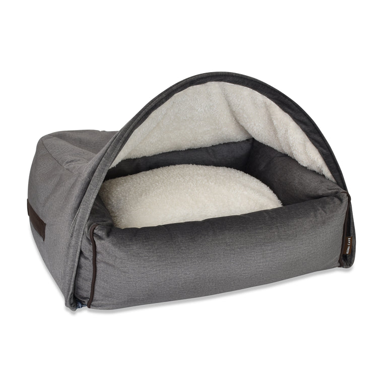 Snuggle Cave Pet Bed - Graphite Grey Velvet