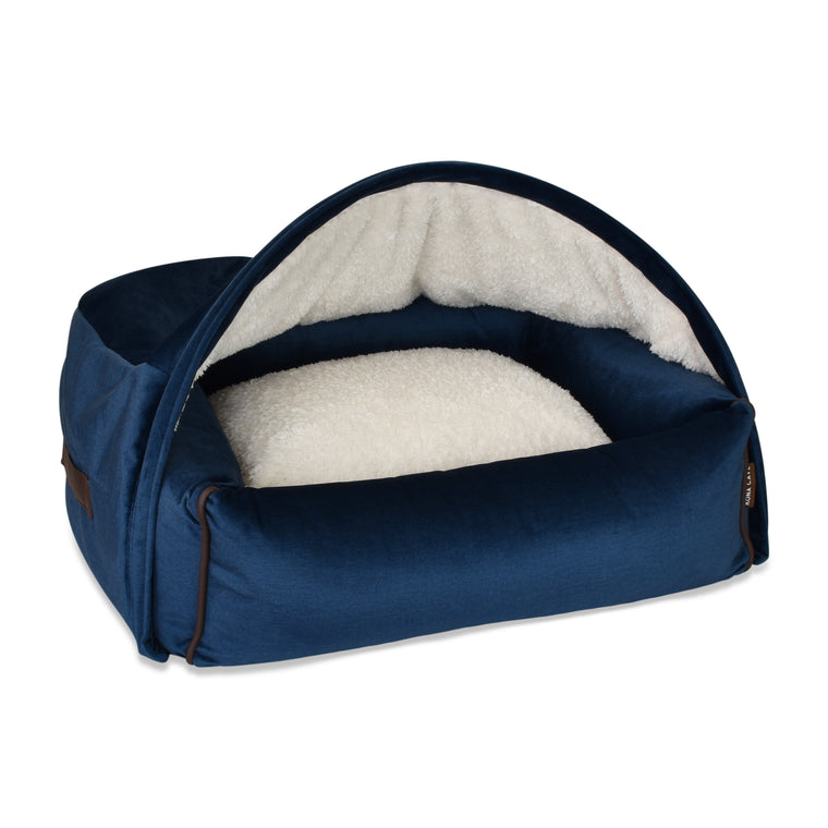 US EXPRESS - Small Snuggle Cave Pet Bed - Midnight Blue Velvet