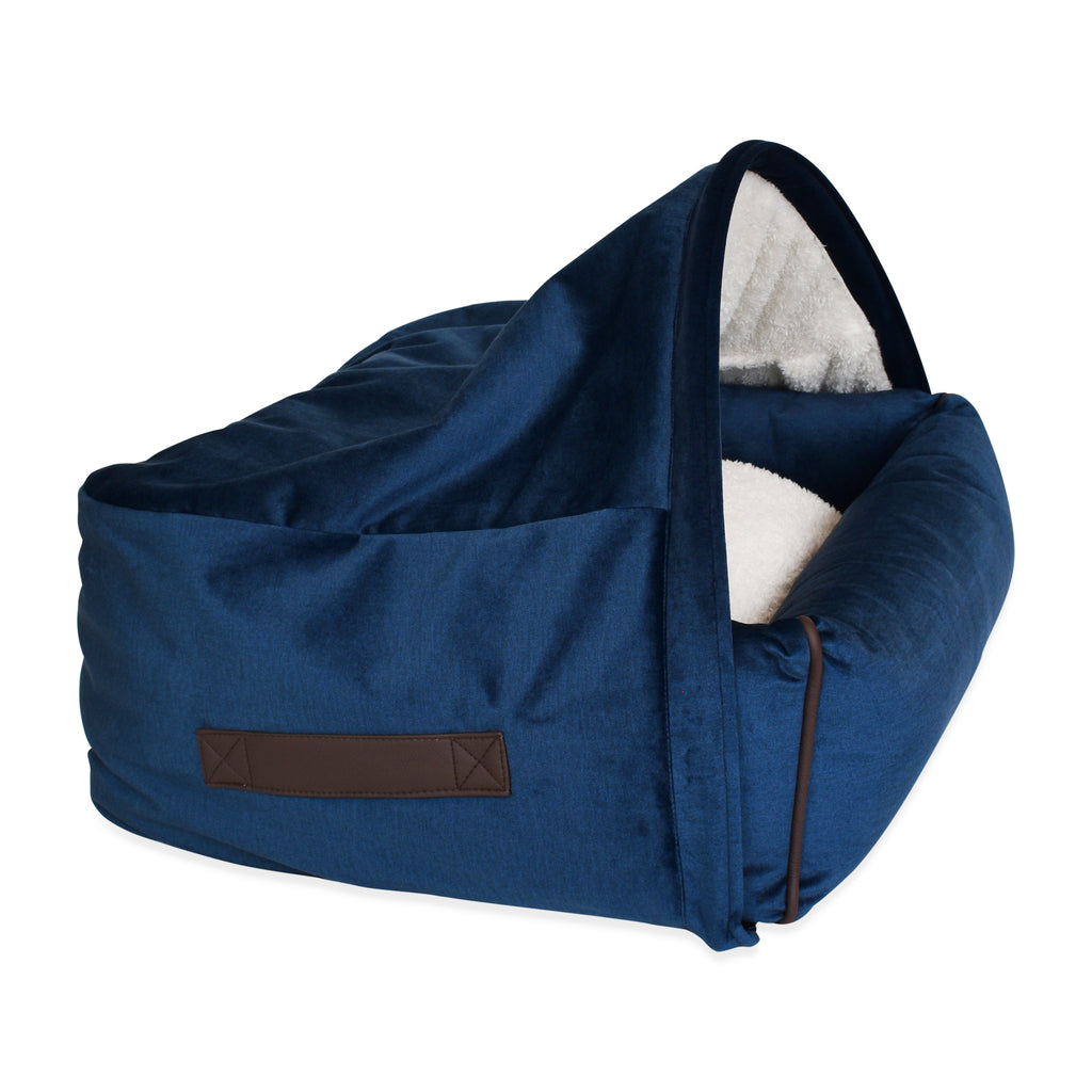Snuggle Cave Dog Bed - Midnight Blue Velvet