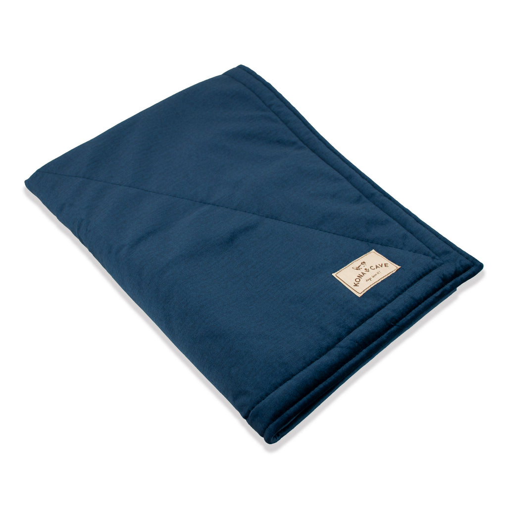 KONA CAVE® Midnight Blue Velvet Pet Blanket with Sherpa Fleece Lining (Small)