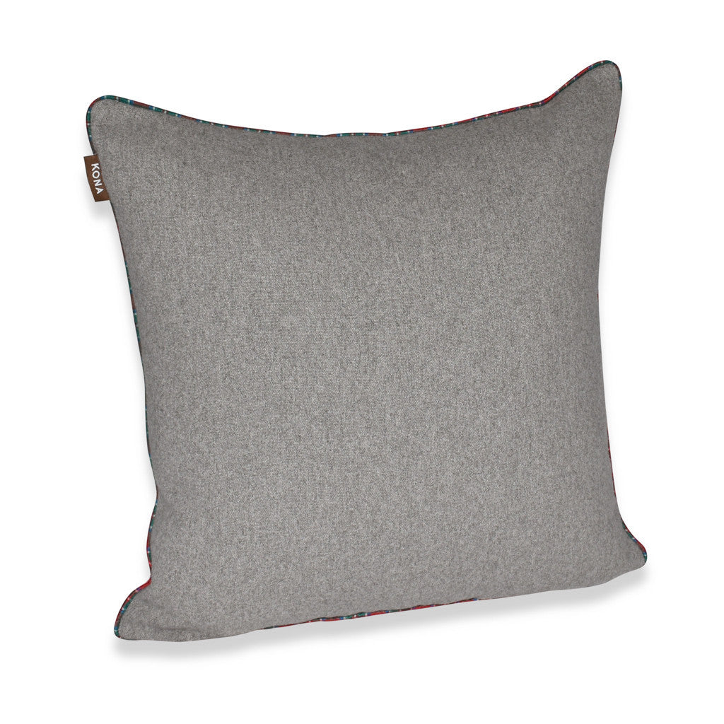 KONA CAVE® Decorative pillow covers, grey flannel with tartan plaid trim.