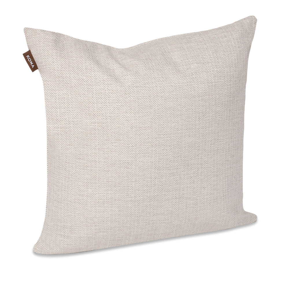 KONA CAVE® Decorative pillow covers, sophisticated cream herringbone fabric.