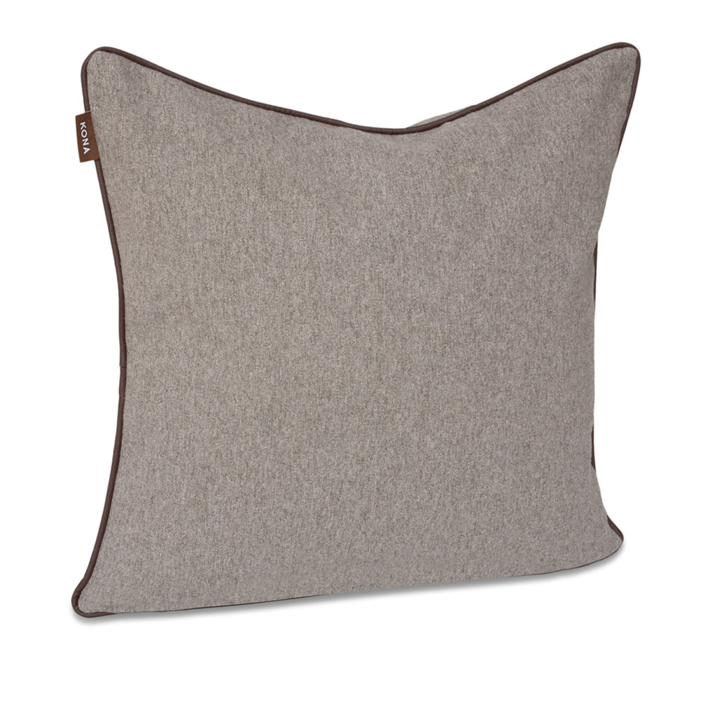 KONA CAVE® Decorative pillow covers, elegant grey flannel with leather trim.