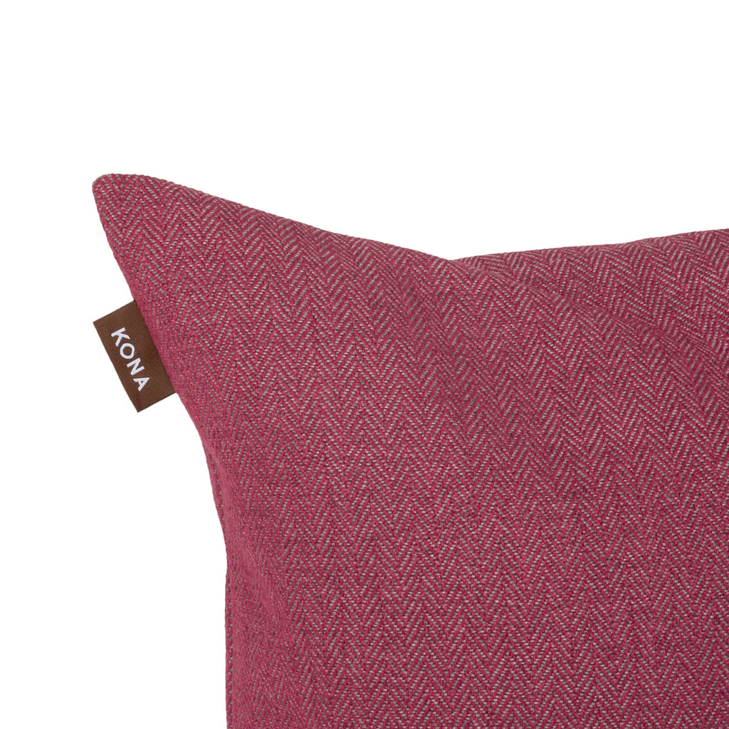 KONA CAVE® Decorative pillow covers, sophisticated dark pink herringbone fabric.