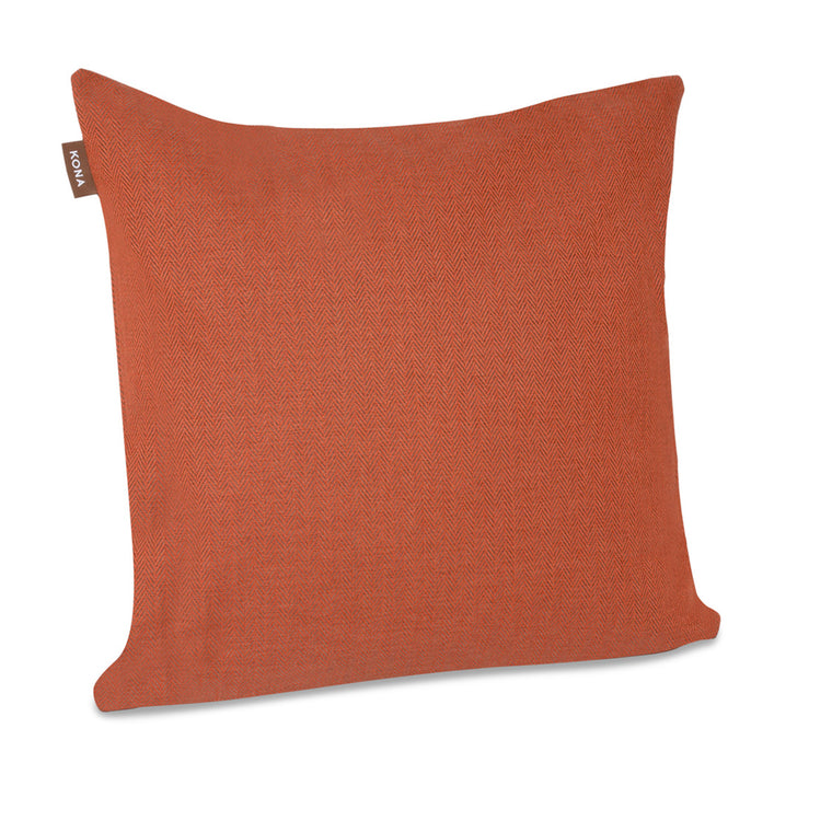 KONA CAVE® Decorative pillow covers, sophisticated orange herringbone fabric.