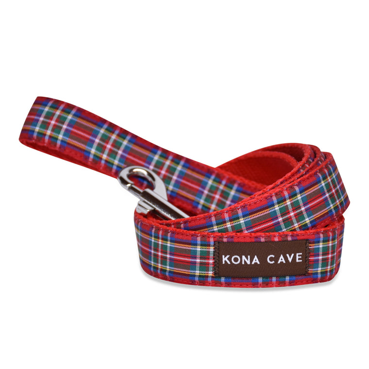 KONA CAVE ® - dog leash / lead in authentic Royal Stewart tartan (red)