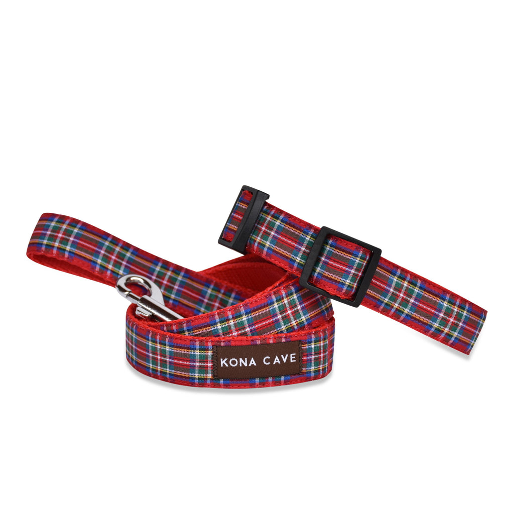 KONA CAVE ® - adjustable dog collar and leash in authentic Royal Stewart tartan (red)