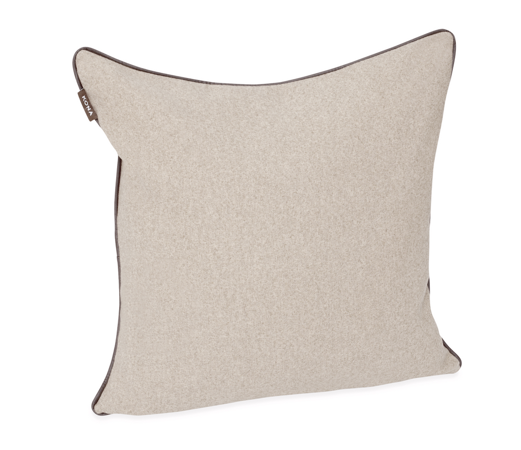 KONA CAVE® Decorative pillow covers, elegant beige flannel with leather trim.