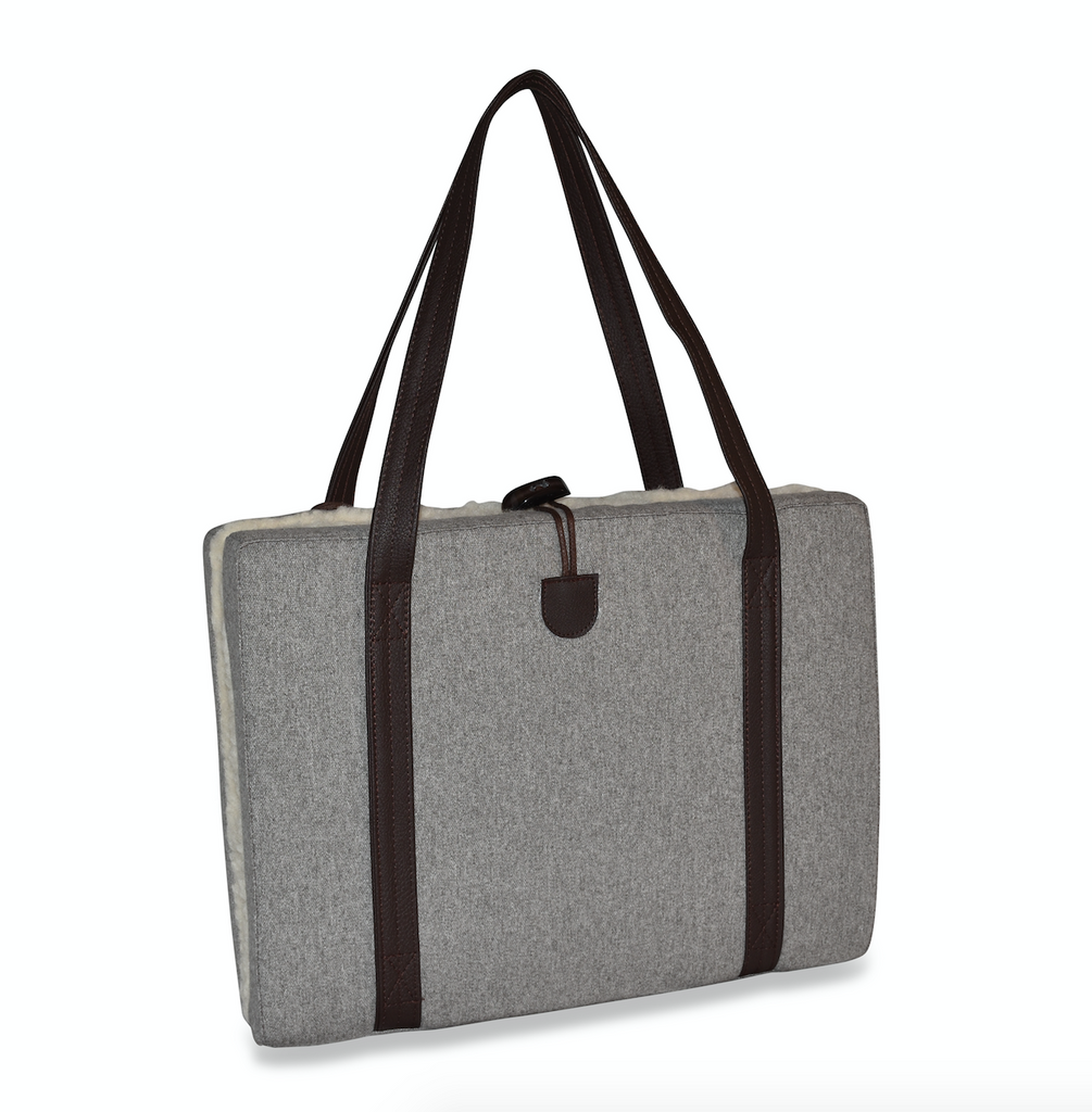 KONA CAVE® luxury Travel Dog Bed. Folded travel dog bed in grey flannel with wool lining.