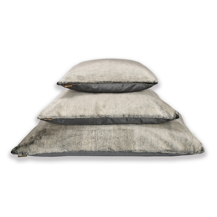 Dream Cushion - Graphite Grey Velvet with Faux Fur & Orthopedic Mattress Insert