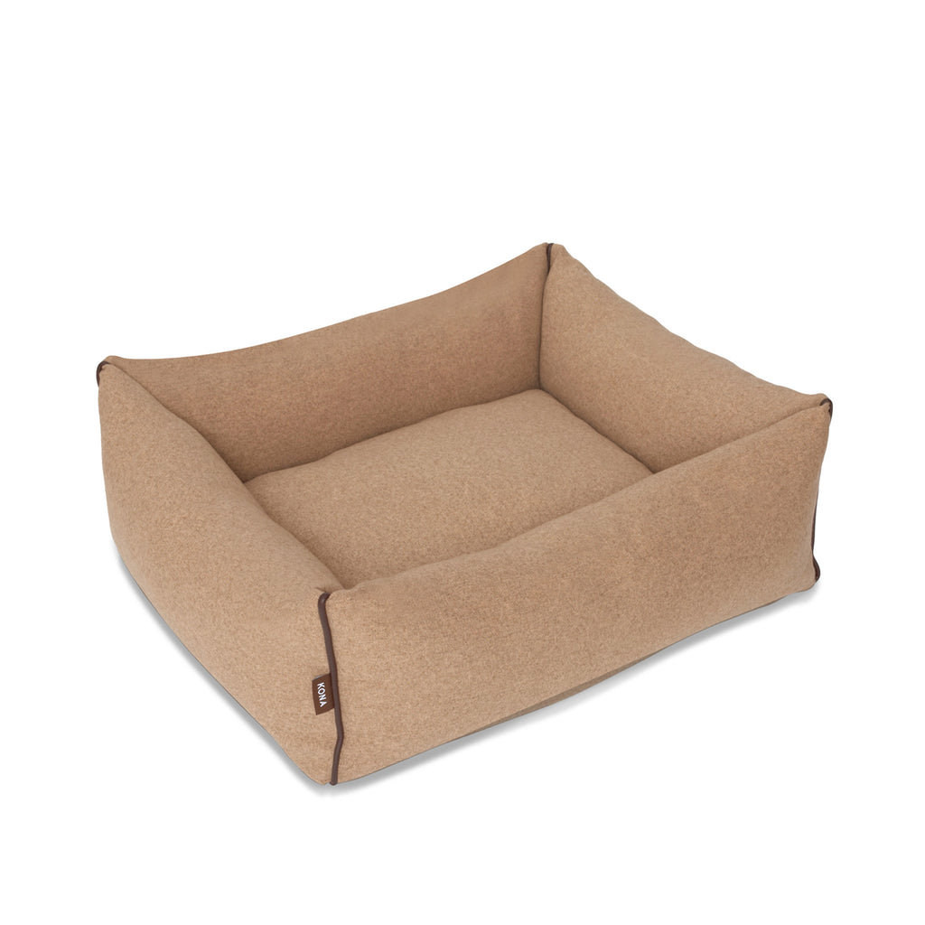 KONA CAVE® luxury dog bed in light brown flannel fabric, with leather trim