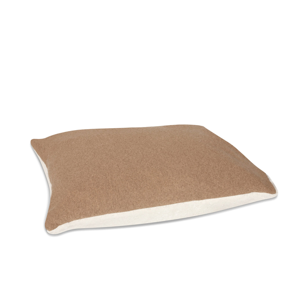 Pillow from KONA CAVE® luxury dog bed in light brown flannel fabric, with leather trim