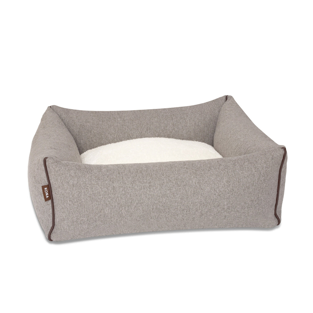 KONA CAVE® designer snuggle cave dog bed in luxury fabric. Grey covered dog bed with bolster bed base. Höhle Hundebett
