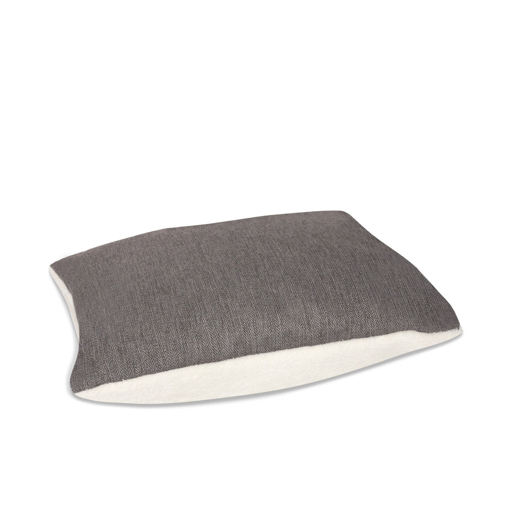 KONA CAVE® luxury dog bed in elegant herringbone fabric with leather trim.