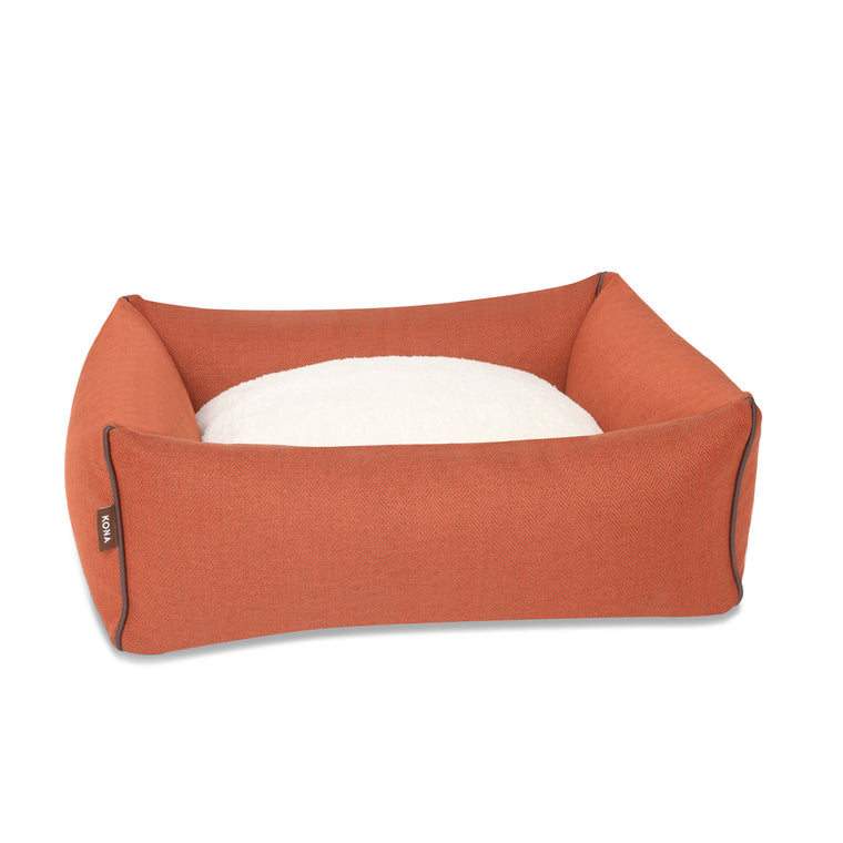 KONA CAVE® designer dog bed in elegant orange herringbone fabric with leather trim.