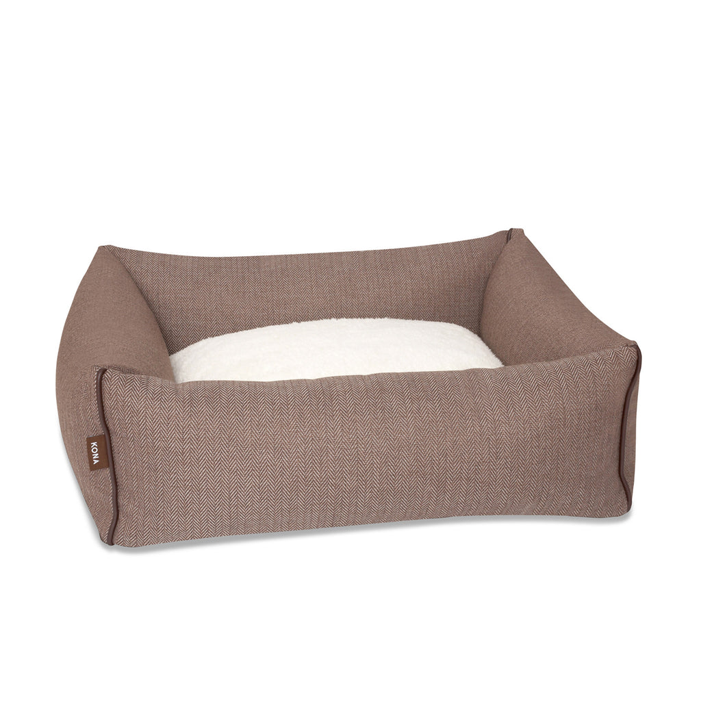 KONA CAVE® designer Snuggle Cave dog bed in brown herringbone fabric with removable igloo cave cover.