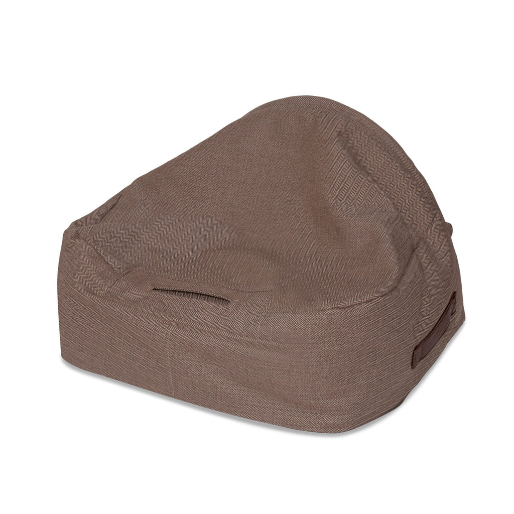 KONA CAVE® designer Snuggle Cave dog bed in brown herringbone fabric for burrowing dogs.