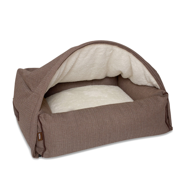 KONA CAVE® designer Snuggle Cave dog bed in brown herringbone fabric with leather trim.   Höhle Hundebett