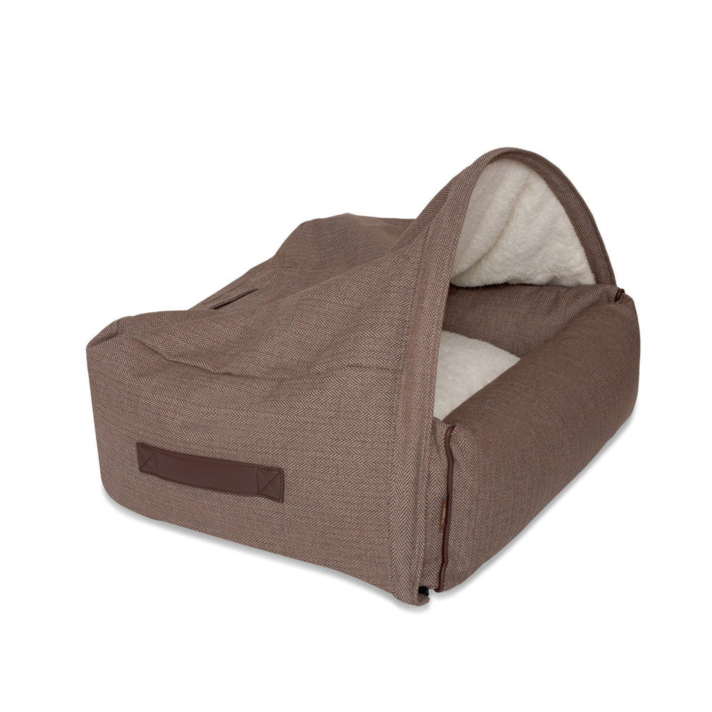 KONA CAVE® designer snuggle cave dog bed in herringbone fabric. Brown igloo dog bed for dog snoozers. Hund Höhlenbett