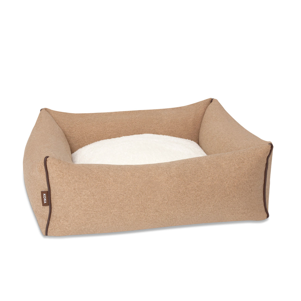 KONA CAVE® designer Snuggle Cave dog bed in light brown flannel fabric with removable cave cover.