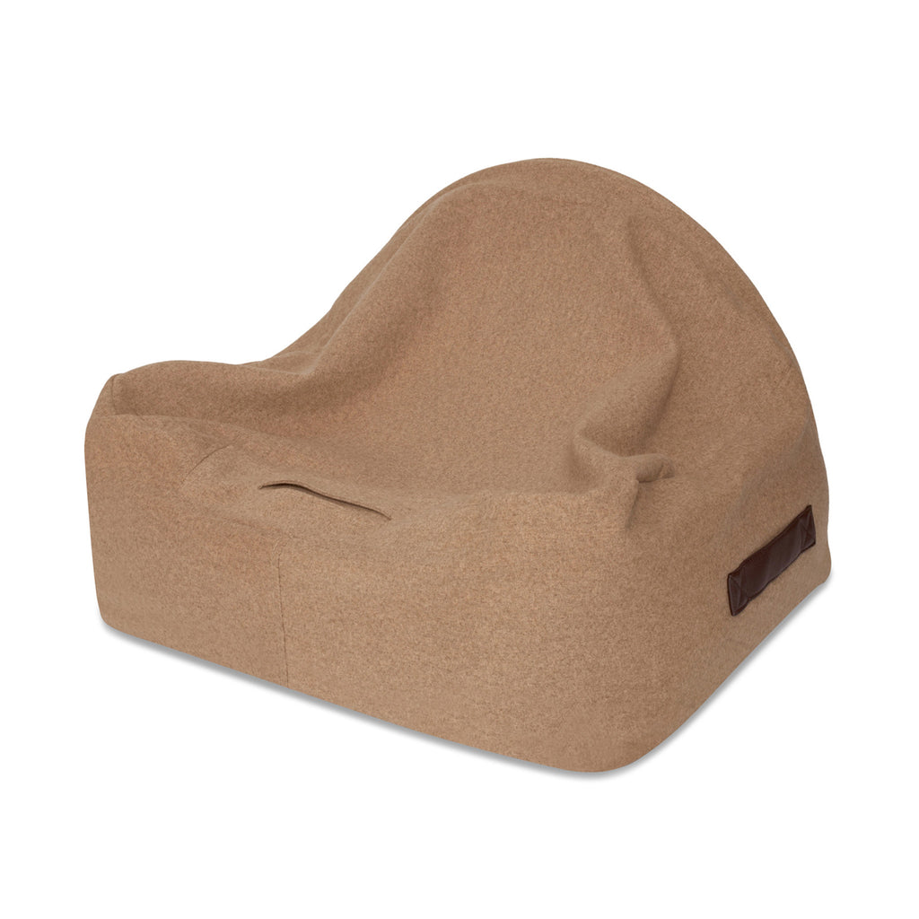 KONA CAVE® patent protected Snuggle Cave dog bed in light brown flannel fabric with leather trim.