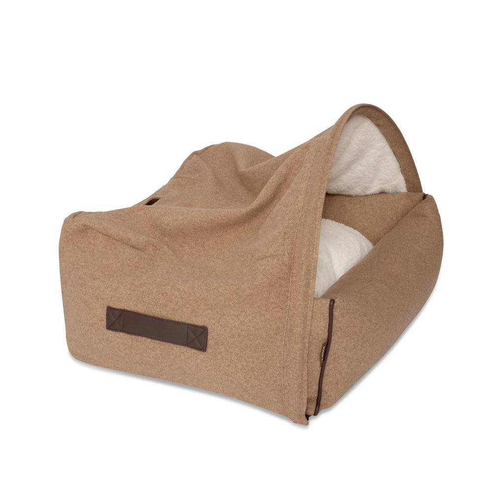 KONA CAVE® designer Snuggle Cave dog bed in light brown flannel fabric with leather trim. Hund Höhlenbett