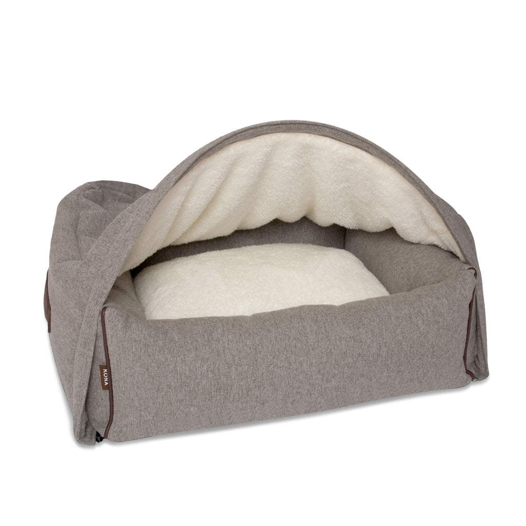 KONA CAVE® designer snuggle cave dog bed in luxury fabric. Hooded dog bed in grey flannel. Höhle Hundebett