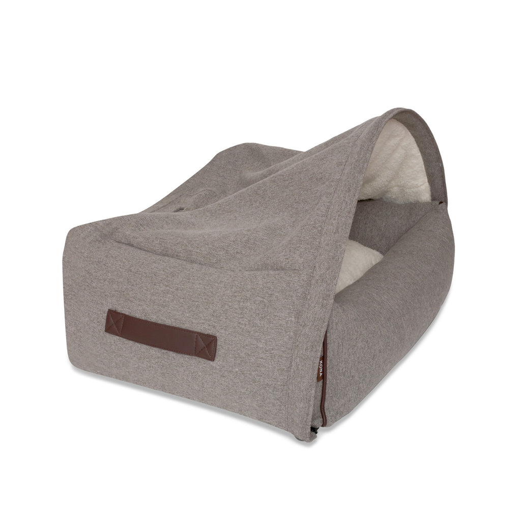 KONA CAVE® designer snuggle cave dog bed in flannel fabric. Grey igloo dog bed for dog snoozers. Hund Höhlenbett