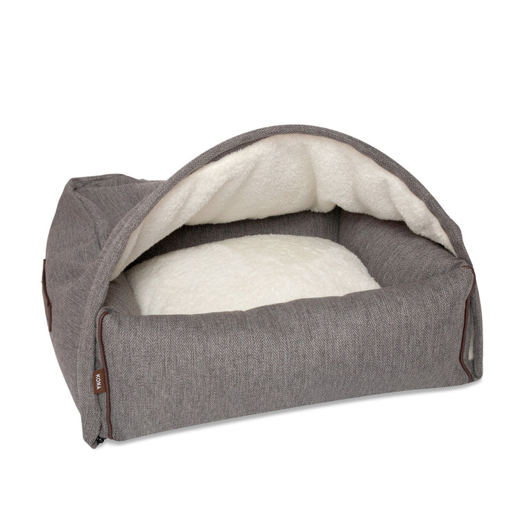 KONA CAVE® designer snuggle cave dog bed in luxury fabric. Hooded dog bed in grey herringbone. Höhle Hundebett