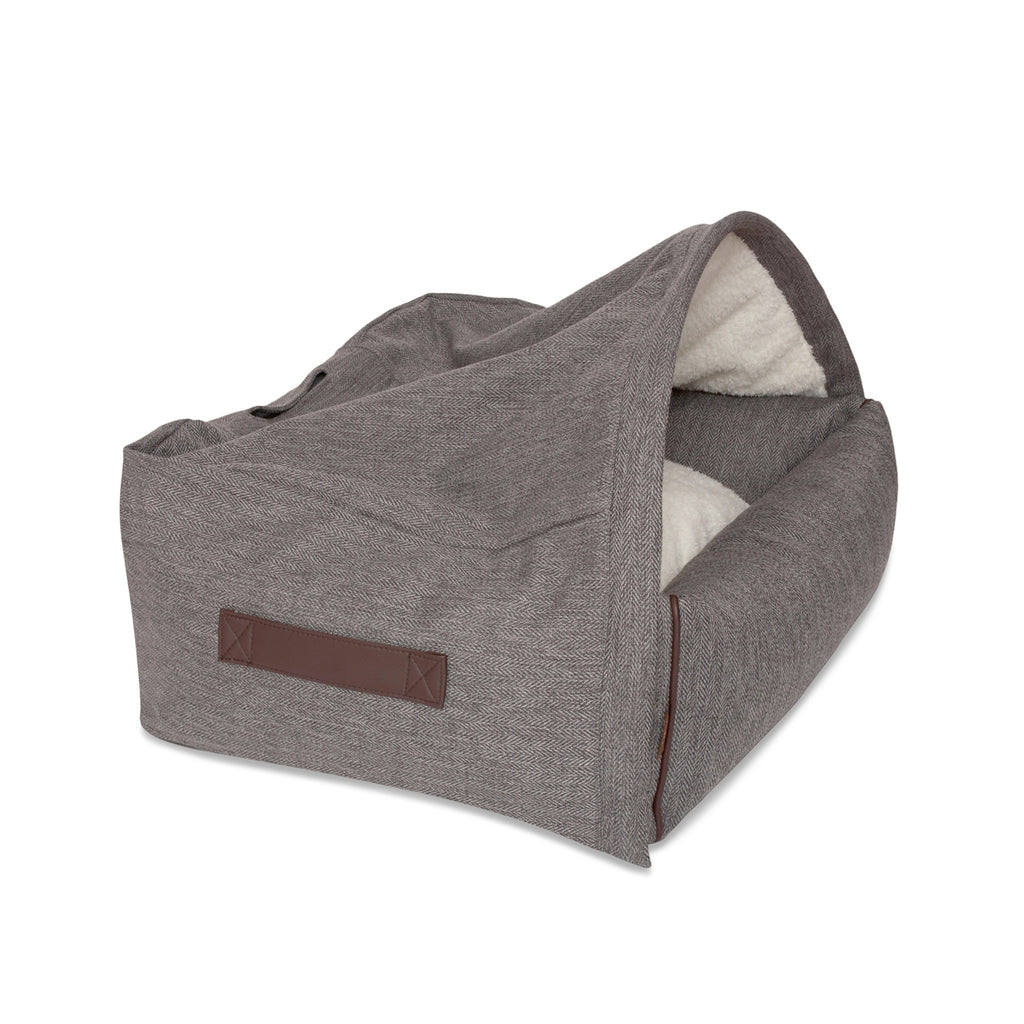 KONA CAVE® luxury snuggle cave dog bed in herringbone fabric. Grey igloo dog bed for dog snoozers. Hund Höhlenbett