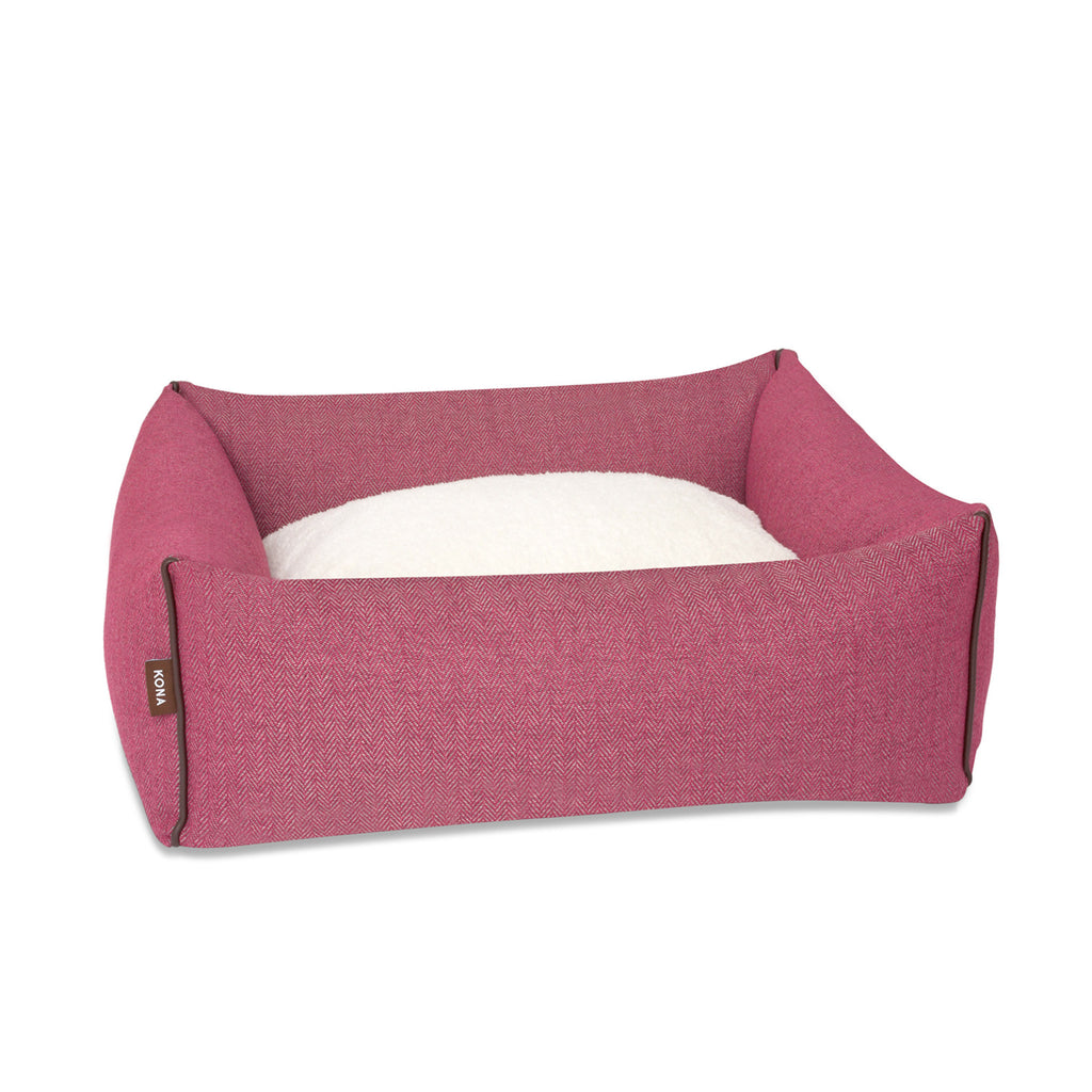 KONA CAVE® designer Snuggle Cave dog bed in dark pink herringbone fabric with removable cave cover.