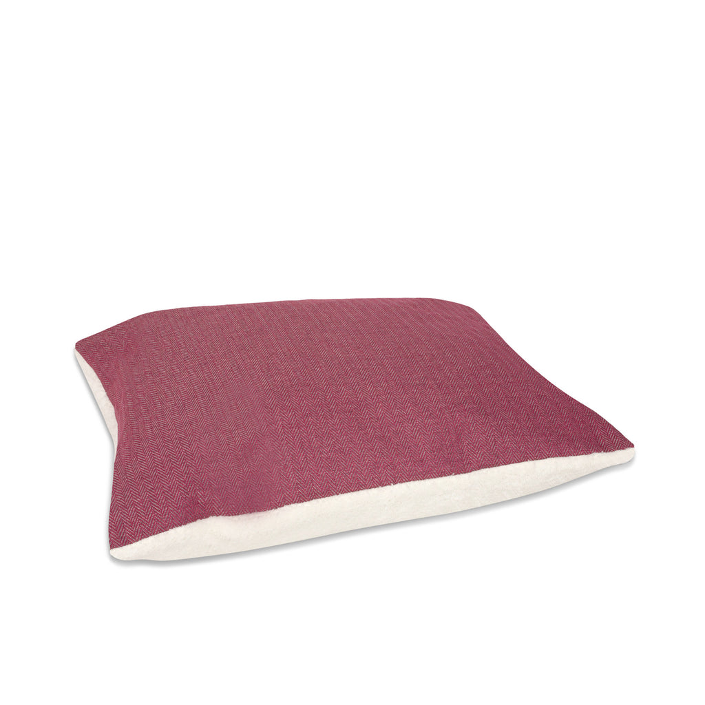 KONA CAVE® dog bed pillow in dark pink herringbone.