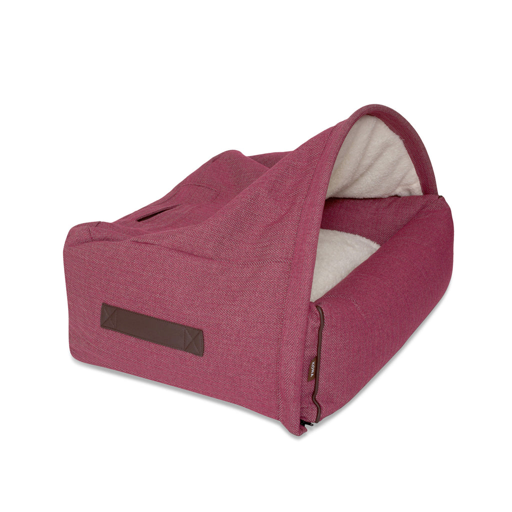 KONA CAVE® luxury Snuggle Cave dog bed in dark pink herringbone fabric for burrowing dogs.
