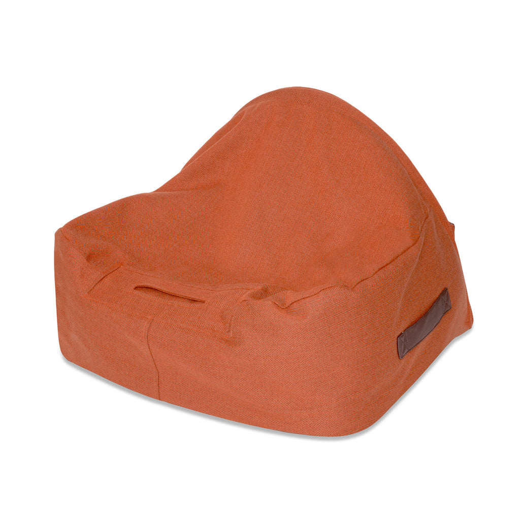 KONA CAVE® designer Snuggle Cave dog bed in sophisticated orange herringbone fabric with leather trim for burrowing dogs.