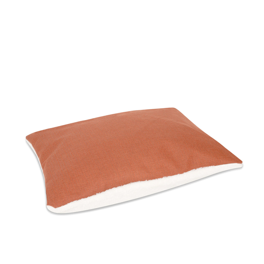 KONA CAVE® luxury Snuggle Cave dog bed pillow in orange herringbone.
