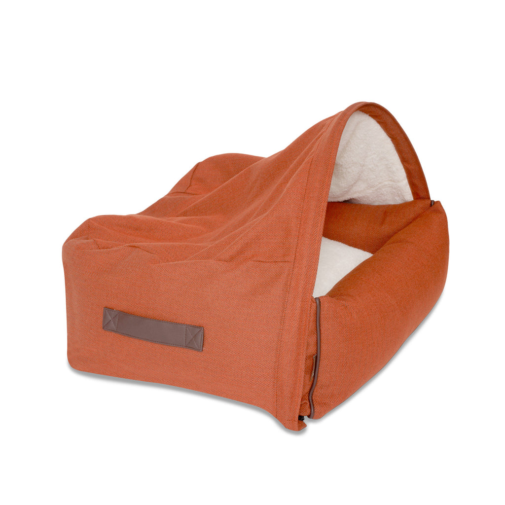 KONA CAVE® designer Snuggle Cave dog bed in sophisticated orange herringbone fabric with leather trim for dogs that like to nest.
