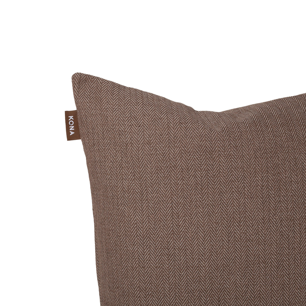 KONA CAVE® Decorative pillow covers, sophisticated brown herringbone fabric.