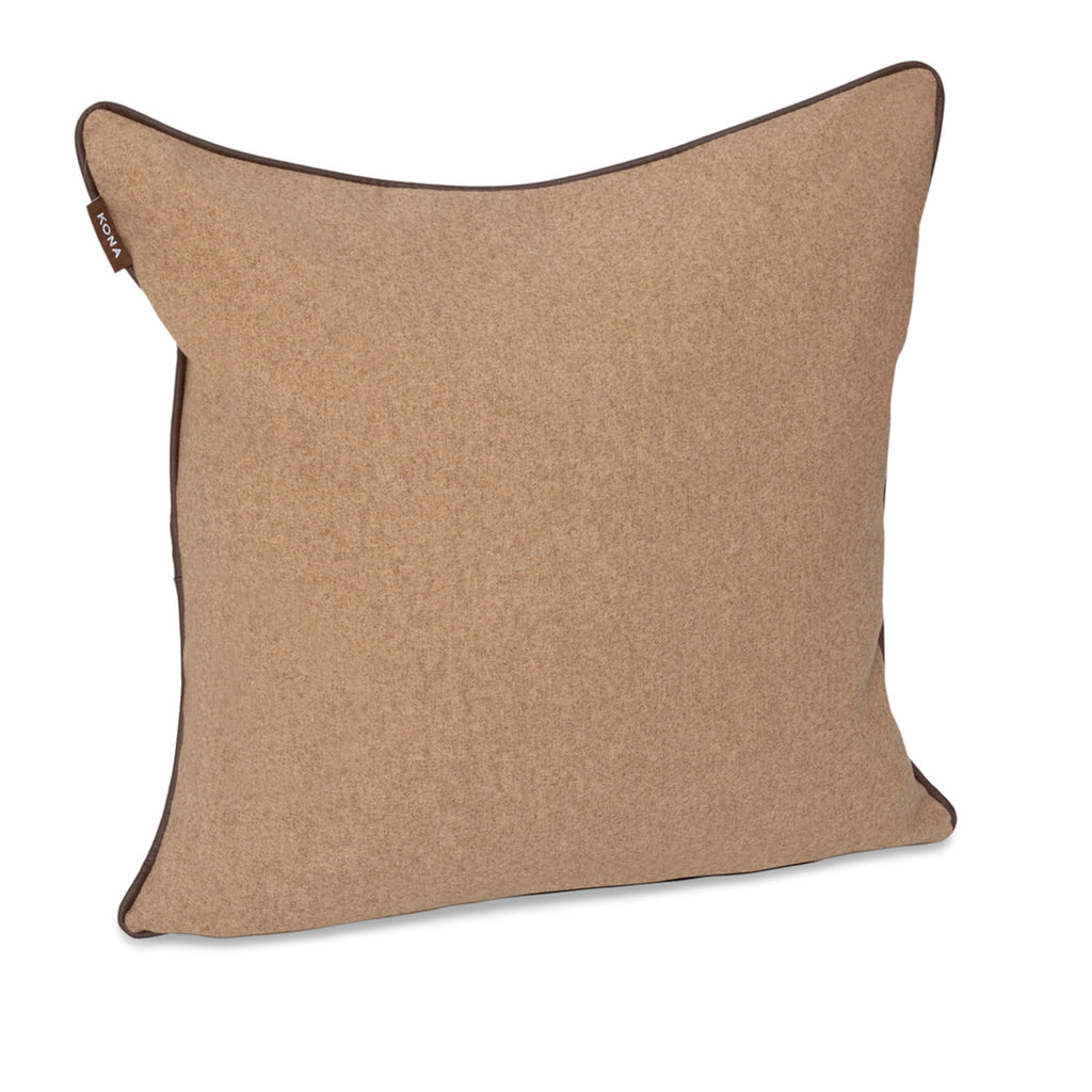 KONA CAVE® Decorative pillow covers, elegant light brown flannel with leather trim.